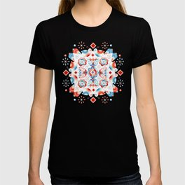 Folkloric Lovebirds Textile Pattern T-shirt