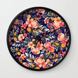 Navy Floral Wall Clock
