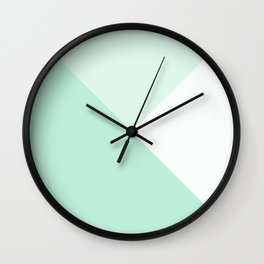Mint Green Geometric Triangle Solid Color Block Wall Clock