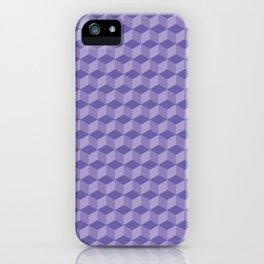3D Optical Illusion: Purple Cube Pattern iPhone Case