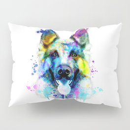 German Shepherd Watercolor, Watercolor Dog print, German Shepherd Print, German Shepherd Art Pillow Sham