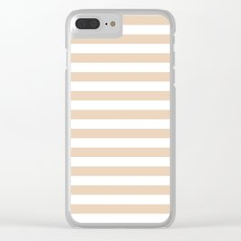 Narrow Horizontal Stripes - White and Pastel Brown Clear iPhone Case