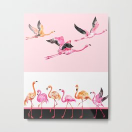 Flamingo_pattern Metal Print