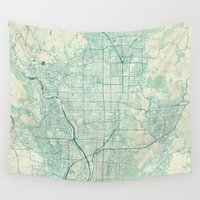 vintage map Wall Tapestries featuring Kyoto Map Blue Vintage by City Art Posters