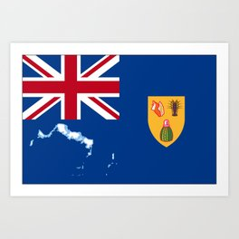 Turks and Caicos Islands TCI Flag with Island Maps Art Print