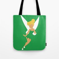 tinker bell Tote Bags featuring Tinker Bell by Adrian Mentus