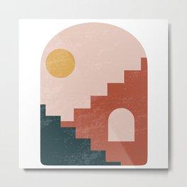 Set of modern minimalist abstract aesthetic illustrations, boho home prints, minimal stairs print Metal Print