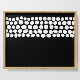 Soft White Pearls on Black Serving Tray