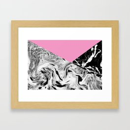 Pink Black and White Marble Colour Blocking Framed Art Print