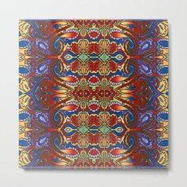 Oriental Watercolor Pattern Blue Red 1 Metal Print