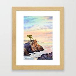 Pebble Beach Lone Cypress Tree Framed Art Print