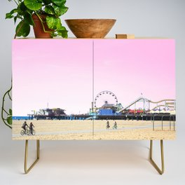 Santa Monica Pier with Ferries Wheel and Roller Coaster Against a Pink Sky Credenza