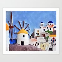 greek Art Prints featuring Greek island by Brian Raggatt