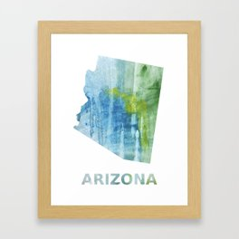 Arizona map outline Blue green colored wash drawing Framed Art Print