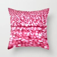 glitter Throw Pillows featuring Bubblegum Pink Glitter Sparkles by WhimsyRomance&Fun