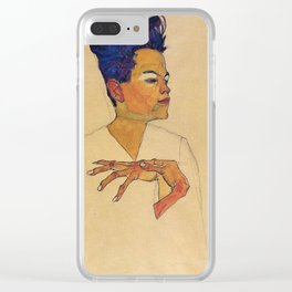 Egon Schiele - Self Portrait With Hands On Chest Clear iPhone Case