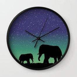 Elephant Silhouettes  Wall Clock