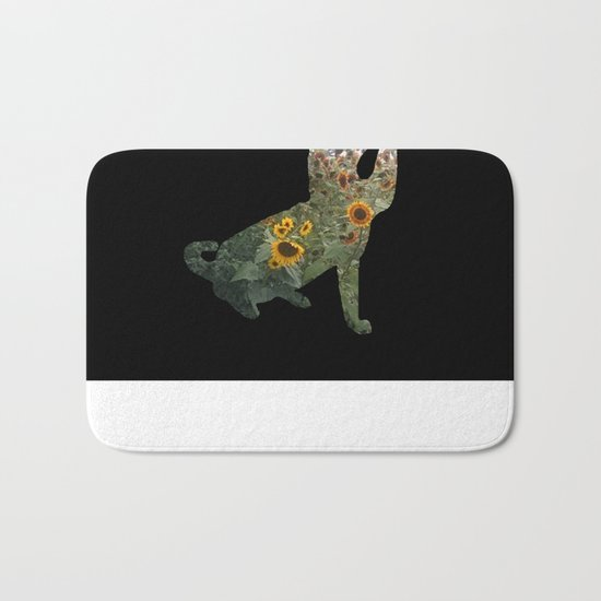 Cat Silhouetted in Sunflowers Bath Mat