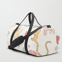 Cute Cats And Birds Pattern Duffle Bag