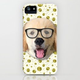 Golden Dog with Glasses iPhone Case