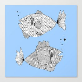 blue fish square Canvas Print