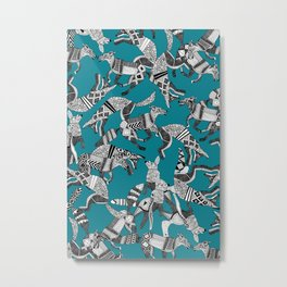 woodland fox party teal blue Metal Print