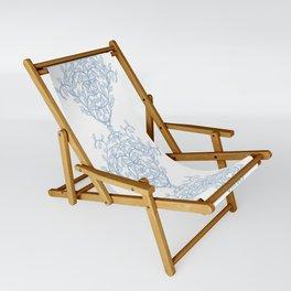 Baroque Sky Blue Vines Sling Chair