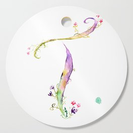 Letter T watercolor - Watercolor Monogram - Watercolor typography - Floral lettering Cutting Board