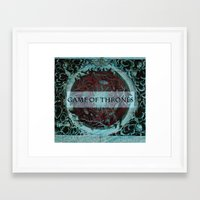 thrones Framed Art Prints featuring Game of Thrones by Jesse Campbell