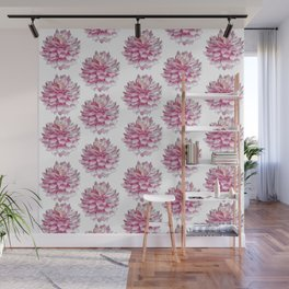 Watercolor dahlias pattern on white Wall Mural