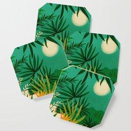 Exotic Garden Nightscape / Tropical Scene Coaster