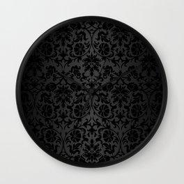 Black Damask Pattern Design Wall Clock