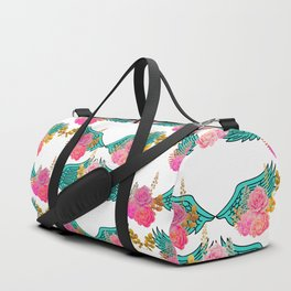 Wings and Roses Turquoise White Duffle Bag