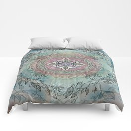 the four directions, a medicine wheel Comforters