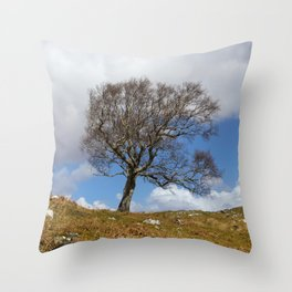 A single tree, Dumfries and Galloway Throw Pillow