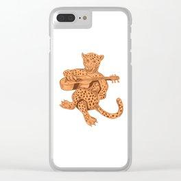 Jaguar Playing Guitar Clear iPhone Case