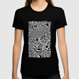 Black  and white psychedelic optical illusion T-shirt