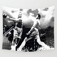 ali gulec Wall Tapestries featuring Ali Float Like A Butterfly Sting Like A Bee by Saundra Myles