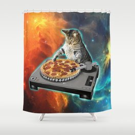 Cat dj with disc jockey's sound table Shower Curtain