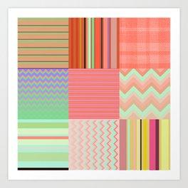 Stripes and chevron mixed color fantasy Art Print