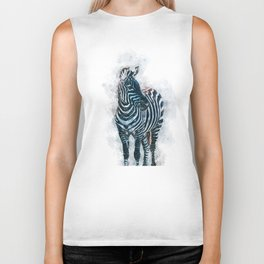 Watercolor zebra illustration Biker Tank