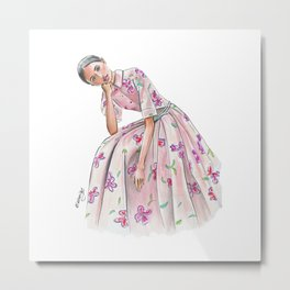 Girl in a pink dress Metal Print