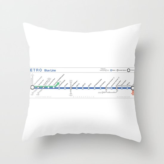 Twin Cities METRO Blue Line Map Throw Pillow