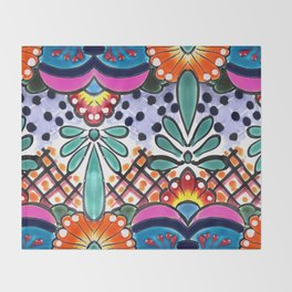 Colorful Talavera, Pink Accent, Large, Mexican Tile Design Throw Blanket