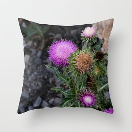 Upright Thistles Throw Pillow