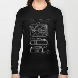 Turntable Patent - White on Black Long Sleeve T-shirt