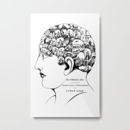 Phrenology symbolic head, psychology, psychiatry psychoanalysis Metal Print
