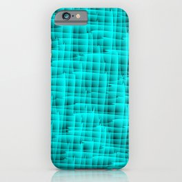 Square intersections light blue lines on a dark tree. iPhone Case