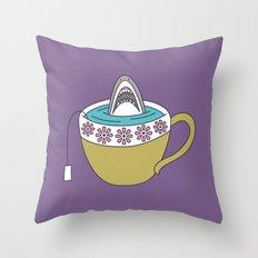Shark in Tea Throw Pillow