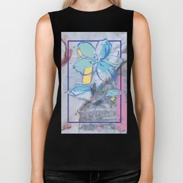Drawing flowers - abstract background Biker Tank